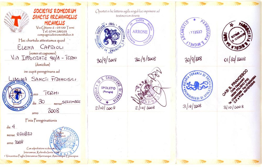Credenziale 2008 Cammino dell'Amore
