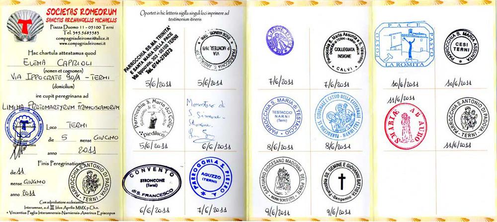 Credenziale 2011 Cammino Protomartiri